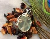 Sea glass Seafoam Pendant - Necklace & ship ready - PEI - Wire Wrapped mermaid's tear