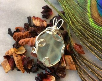 Sea glass Seafoam green Pendant, surf tumbled sea glass picked off the beach in PEI. Wire Wrapped Sea Glass mermaid's tears Beach Jewellery