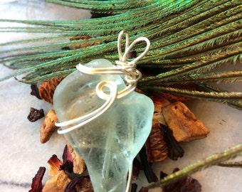 Sea Glass Jewellery Sea Glass Pendant Aqua Sea Glass wire wrapped sea surf tumbled sea glass, gifts for her sea glass heart