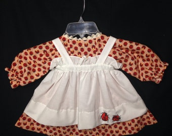 Dress and Apron for 30 INCH Raggedy Ann Doll, Orange and white striped dress with Red Ladybugs,Embroidered Apron