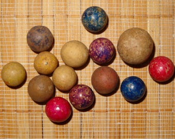 Lot of 14 Antique/Vintage Clay Marbles / Collectible Marbles / Game Marbles / Toy Marbles / Lot #6