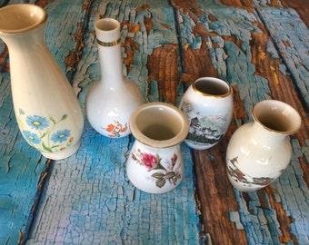5 vintage mini vases