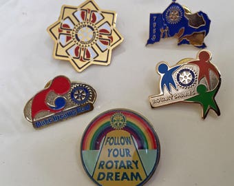 5 Clutch Back Rotary Pins, Variety, Scatter Pins, Tie Tacks, Lapel Pins, Collectible, Vintage Jewelry, Rotary International, Rainbow, Dream