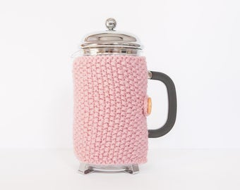 Pink knit coffee cosy - Cafetiere cosy - Coffee jug warmer - French press cover - Coffee press cosy - Coffee pot cosy - Coffee lover gift