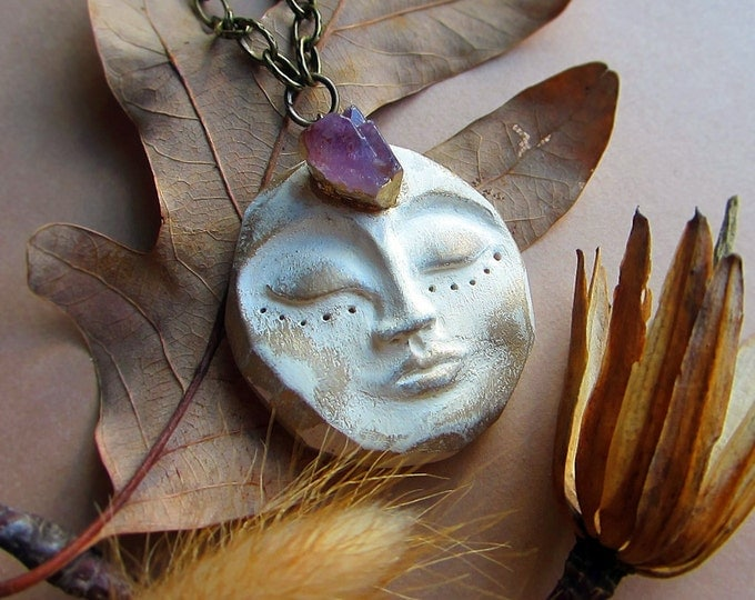 "Rustic necklace ""Serene Goddess"" with hand sculpted clay pendant and Amethyst cluster in the third eye. Custom chain."