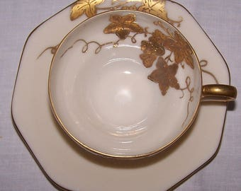 Vintage UCAGCO Hand-Painted Demitasse Cup and Saucer from Occupied Japan with Raised Gold Grapes & Leaves