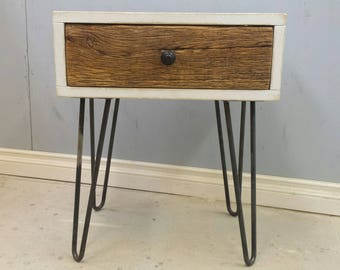 Night Table / Bedside Table With Drawer / Scandinavian Style / Hairpin Legs / End Table / Lamp Table