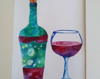 wine watercolor, original watercolor painting, wine wall at, kitchen watercolor painting