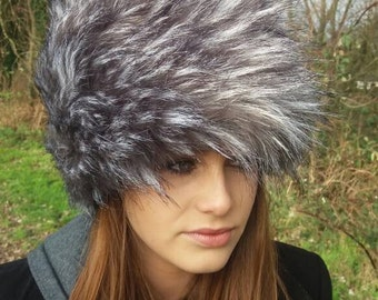 Long Silver Grey Faux Fur Russian Hat with Fleece Crown Made In England!