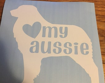 Australian Shepherd Decal-Love My Aussie