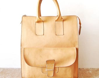 Handmade Vintage Tote Beige Leather Bag, Handbag Light Color, Leather Border Bag with Top Handles