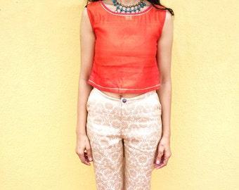 Orange Pure Silk Top - Handmade Top - Silk Blouse - Gift For Her - Custom Made Silk Shirt For Girls - Handmade Silk Crop Top