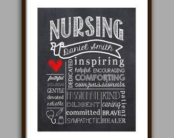 Nursing Gift - Nurse Graduate Gift - Nursing Appreciation Gift - Thank you Nurse - CHALKBOARD Style Printable