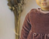 dusty rose velvet babydoll dress with poet sleeves for american girl dolls.