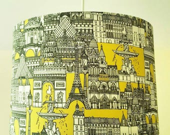 Paris Lampshade, Eiffel Tower, French, Drum Lamp Shade, Cityscape, Yellow lampshade, Bedside lampshade, Bedroom Decor, Travel, City of Love