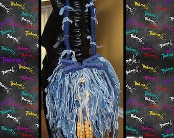 Frayed Jean handbag,Denim Jean bag,Denim Fringe Bag,Jean fringe purse,custom jean handbag,One of a kind bag,cross body,drawstring