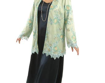 Jade, Aqua, Ecru Embroidered Beaded Lace Plus-Size Formal Jacket by Peggy Lutz Sizes 14/16 to 26/28