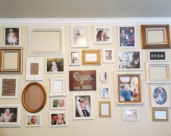 Gallery Wall Frames Set gallery wall decor wooden frame set rustic gallery wall