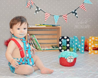 CAKE SMASH Dr Seuss Cat in the Hat Inspired Turquoise 1st Birthday Diaper Cover Necktie Suspenders 3 piece Set