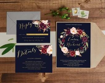 DIY Printable Gold, Navy and Burgundy Watercolour Floral Wedding Invitation Main Invitation | Details | RSVP