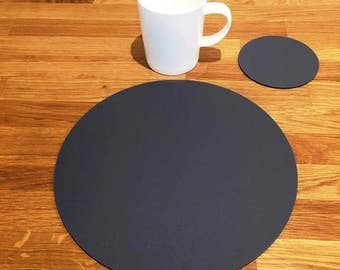 Round Placemats or Placemats & Coasters - in Graphite Grey Matt Finish Acrylic 3mm