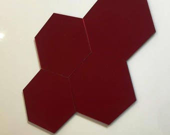 "Red Mirrored Acrylic Hexagon Crafting Mosaic & Wall Tiles, Sizes: 1cm to 20cm - 1"" to 7.9"""