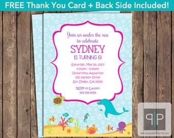 INSTANT DOWNLOAD Under the Sea Birthday Invitation, Printable Sea Invite, Aquarium Birthday Invitation, Editable Dolphin Birthday Invitation
