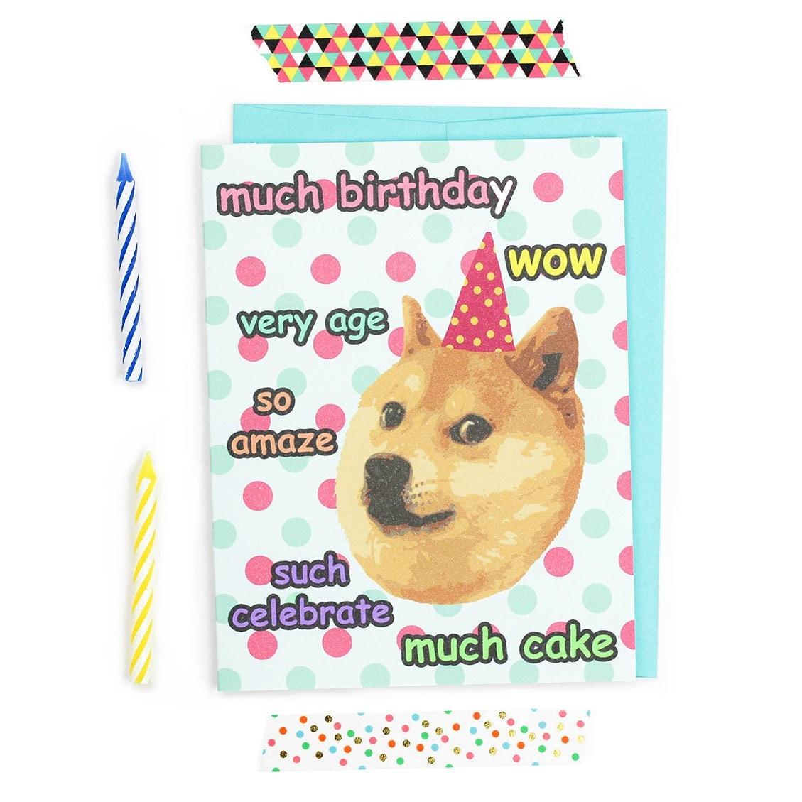 Doge Card Funny Birthday Card Dank Memes Shiba Inu Dog