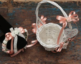Matching flowergirl basket and headband set