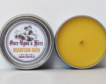 Mountain Rain Beeswax Candle Tin | 4 oz. Candle | Natural | Travel Tin | Container Candle | Scented
