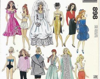 80s McCalls 898 Barbie Doll Wardrobe Sewing Pattern UNCUT