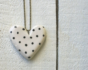 Heart Necklace with black dots handmade ceramic
