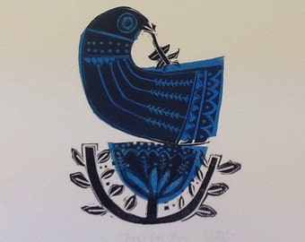 Just for You! hand made Lino print in blue and black, great gift for the bird lover in your life!