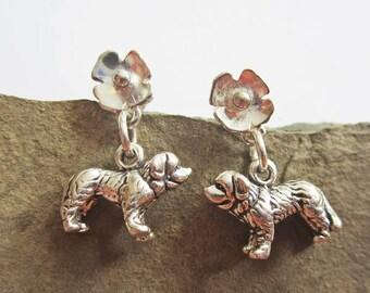 Saint Bernard Poppy Earrings - Sterling Silver Mini - Post Earrings