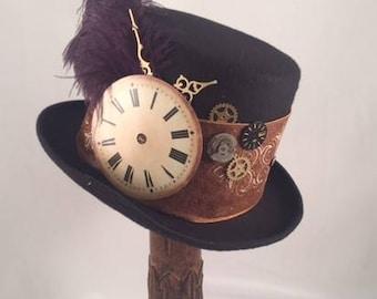STEAMPUNK TOP HATS, Steampunk Shop, Steampunk Accessories, Tall Top Hat, Cognac Band, Clock Parts