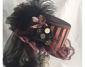 STEAMPUNK TOP HATS, Steampunk Shop,  Steampunk Emporium, Brown Top Hat, Brown Black Stripes, Clock Parts, Ostrich Feathers