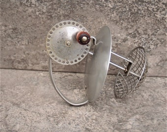 Antique Rotating Egg Beater with Red Wooden Handle