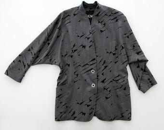 Vintage Blazer // Escada Wool Blazer // Batwing Sleeves // Abstract Black Pattern