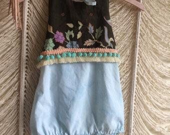 3T vintage sari sun suit / short romper version