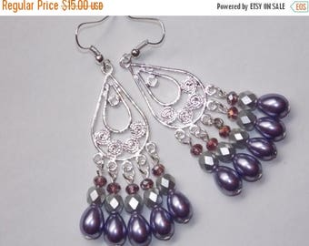 15%OFF Purple Pearl Open Teardrop Chandelier Earrings