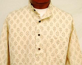 Vtg Fabindia Cotton Pullover Shirt Abstract Print Mens 42 Unisex Hippie Clothing Ethnic India Mandarin Collar Vintage Clothing