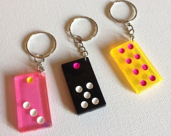 3 funky domino plastic key rings key chain charms perfect for making chunky jewellery