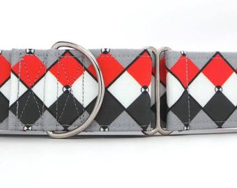 Red and Grey Abstract Argyle Dog Collar (Martingale, Buckle or Tag)