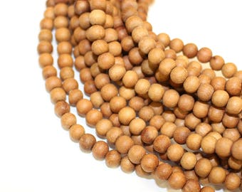 6mm Sandalwood Matte  Unpolished Natural Raw Wood High Quality Beads 16 inch Strand, 75 Beads for Mala Necklaces