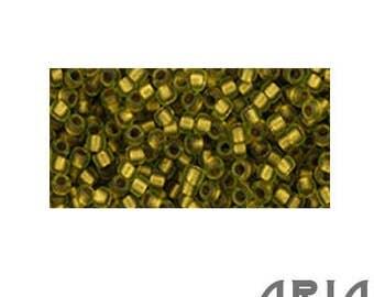 PERIDOT RAINBOW GOLD Lined Matte (996F): 11/o Toho Japanese Seed Beads (10 grams)