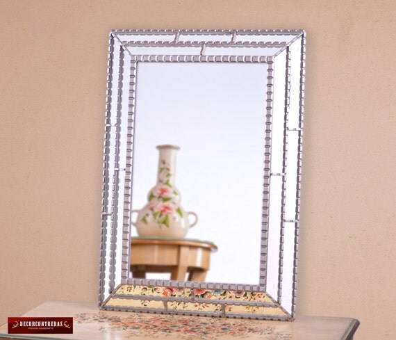 Unique silver decorative rectangular wall mirror for Fancy bathroom wall mirrors