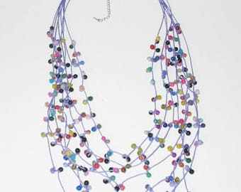 Multi Stone Necklace by Purple Wax Cord