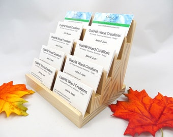 Multiple Card Holder, 5 Tier, Wood Card Display, Vertical, Horizontal Business Cards, Reception Desk, Wood, Office Décor, Medical Facility