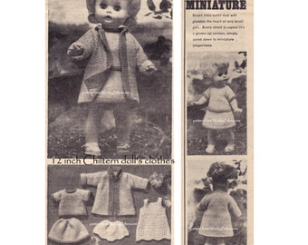Vintage dolls clothes knitting pattern for Debbie Chiltern 12 inch doll coat sweater suit skirt slip dress Knit Pattern PDF 598 WonkyZebra