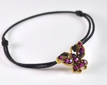 Butterfly black cord bracelet